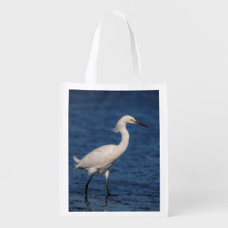 Snowy Egret on North Beach Reusable Grocery Bag