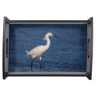 Snowy Egret on North Beach Serving Tray