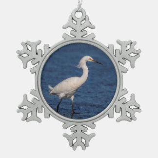 Snowy Egret on North Beach Snowflake Pewter Christmas Ornament