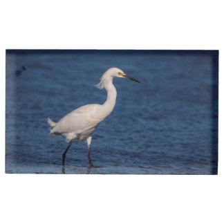 Snowy Egret on North Beach Table Card Holder