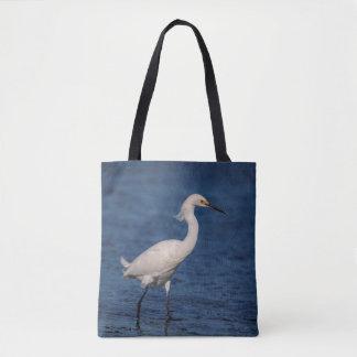 Snowy Egret on North Beach Tote Bag