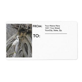 Snowy Egret Shipping Label