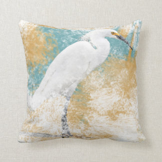 Snowy Egret | Throw Pillow - Coastal & Beach Life
