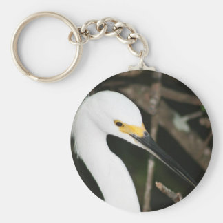 Snowy Egret Wading Bird Basic Round Button Keychain