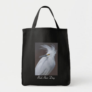 Snowy Egret with Bad hair Day? caption Grocery Tote Bag
