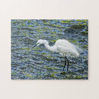 Snowy Egret with Blue & Green Lake Fractal Art Puzzle