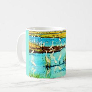 snowy egrets coffee mug