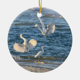 Snowy Egrets Dancing (Can be Personalized) Round Ceramic Ornament