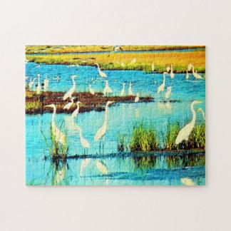 snowy egrets jigsaw puzzle
