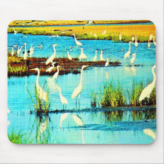 snowy egrets mouse pad