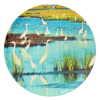 snowy egrets plate