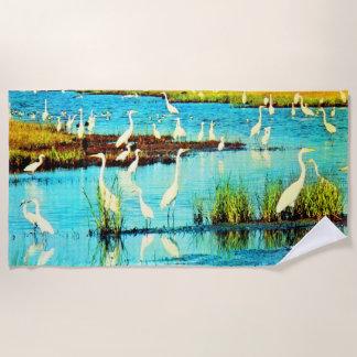 snowy egrets print beach towel