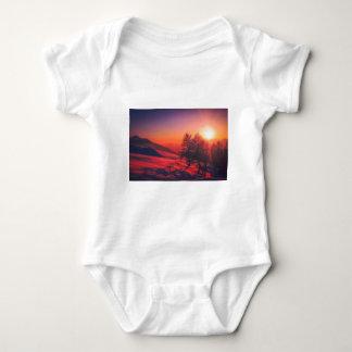 Snowy Evening Sunset Baby Bodysuit