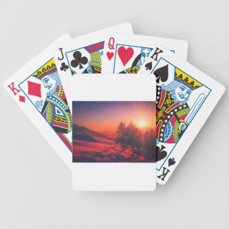 Snowy Evening Sunset Bicycle Playing Cards