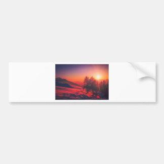 Snowy Evening Sunset Bumper Sticker