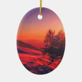 Snowy Evening Sunset Ceramic Ornament