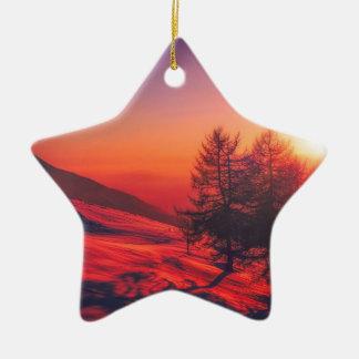 Snowy Evening Sunset Ceramic Ornament