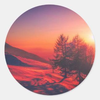 Snowy Evening Sunset Classic Round Sticker