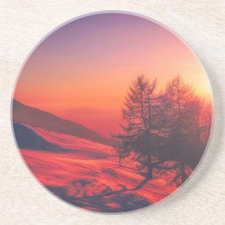 Snowy Evening Sunset Coaster