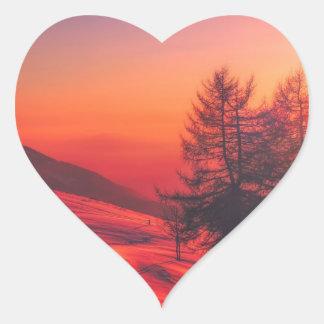 Snowy Evening Sunset Heart Sticker
