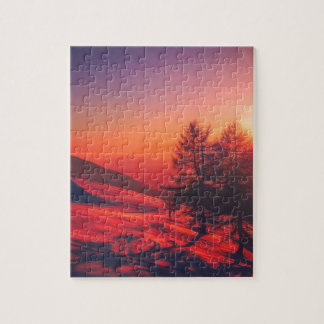 Snowy Evening Sunset Jigsaw Puzzle