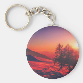 Snowy Evening Sunset Keychain