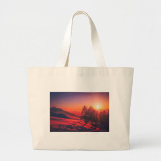 Snowy Evening Sunset Large Tote Bag
