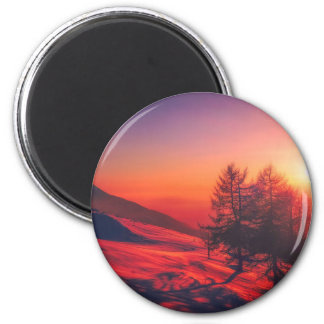 Snowy Evening Sunset Magnet