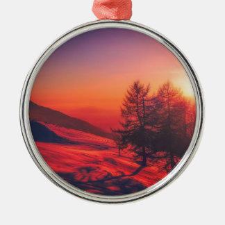 Snowy Evening Sunset Metal Ornament