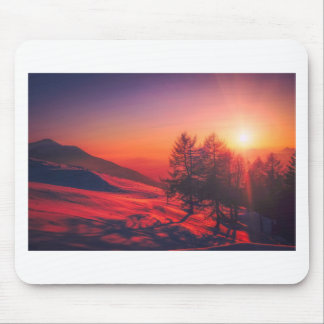 Snowy Evening Sunset Mouse Pad