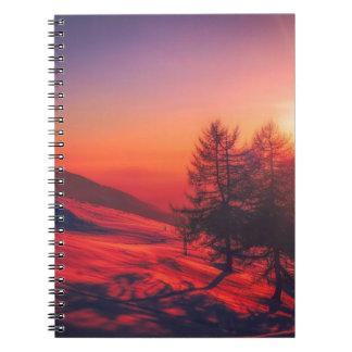 Snowy Evening Sunset Notebooks