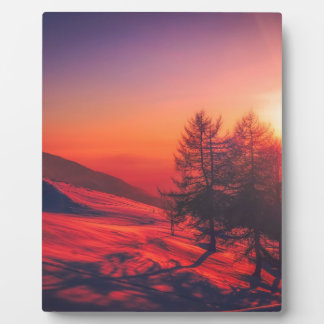 Snowy Evening Sunset Plaque