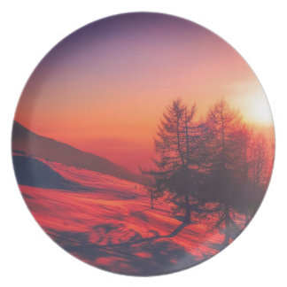 Snowy Evening Sunset Plate