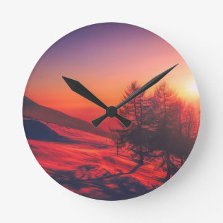 Snowy Evening Sunset Round Clock
