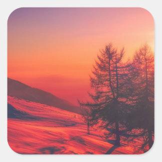Snowy Evening Sunset Square Sticker