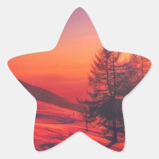 Snowy Evening Sunset Star Sticker