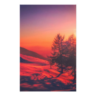 Snowy Evening Sunset Stationery