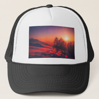 Snowy Evening Sunset Trucker Hat