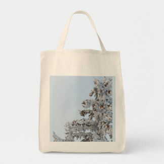 snowy evergreen tote bag