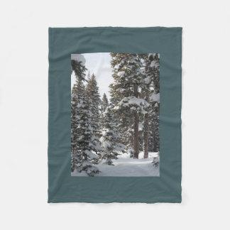 Snowy Evergreens Fleece Blanket