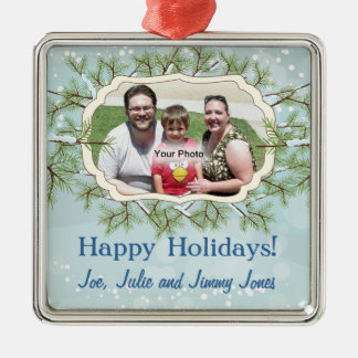 Snowy Evergreens Photo Frame Christmas Ornament