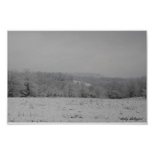 Snowy Farm Scene Photo Print