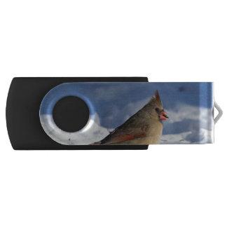 Snowy Female Cardinal Swivel USB 2.0 Flash Drive