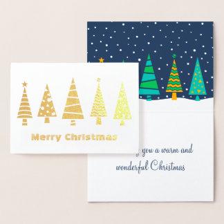 Snowy Fir Trees Foil Christmas Card
