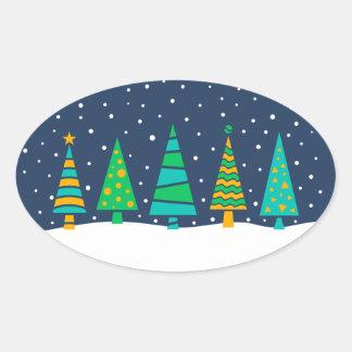 Snowy Fir Trees Stickers