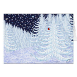 Snowy Firs with Red Bird Card