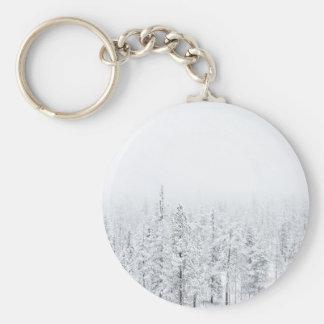 Snowy forest basic round button keychain