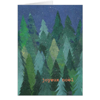 Snowy Forest Christmas Card: French Greeting Greeting Card