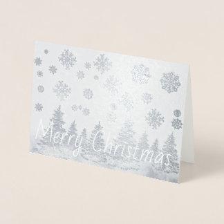 Snowy Forest foil Christmas Card