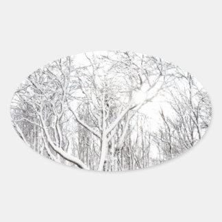 Snowy Forest Oval Sticker